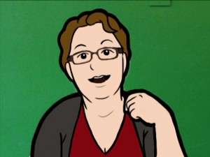 Cartoon of Sue Fletcher-Watson