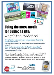 Symposium | Using the mass media for public health: what's the evidence? @ University of Stirling